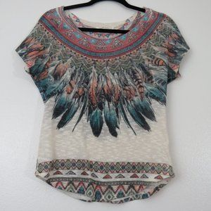 Feathered, Southwestern style top, size small